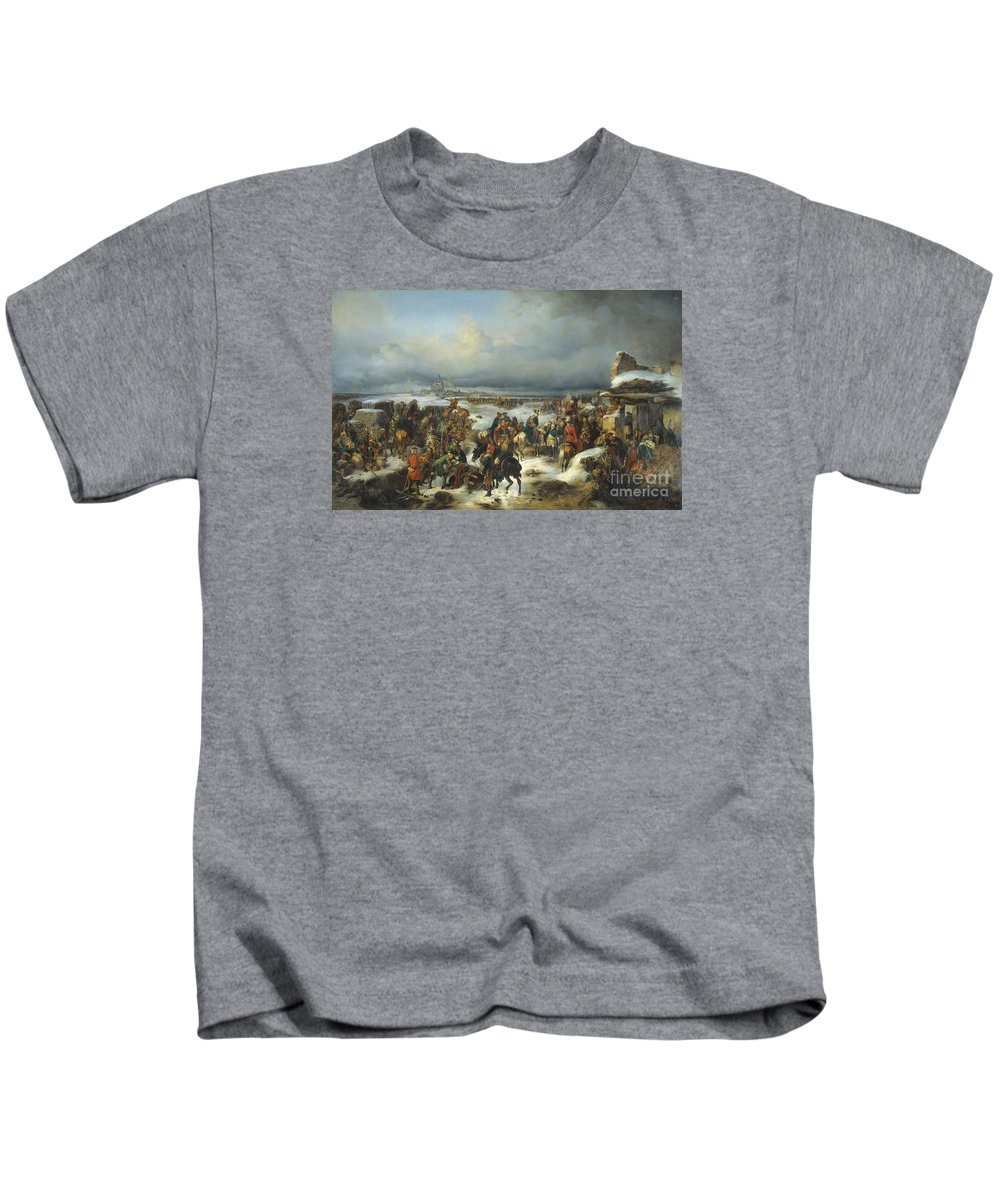Fall Of Kolberg In 1761 Kids T-Shirt featuring the painting Fall Of Kolberg by Celestial Images