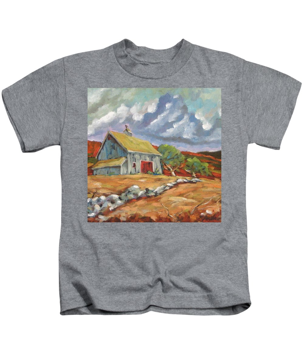 Farm Kids T-Shirt featuring the painting Fall Scene by Richard T Pranke