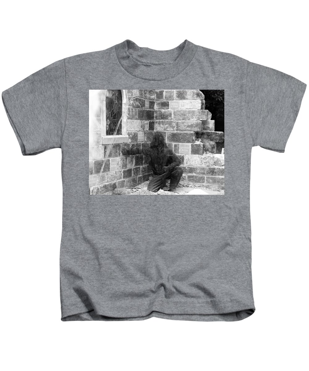 Kids T-Shirt featuring the photograph Fallen Airman Black And White by Nigel Photogarphy
