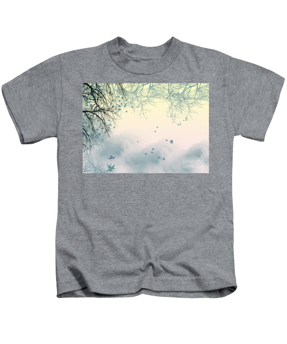 Branches Kids T-Shirt featuring the digital art Falling Leaves by Trilby Cole