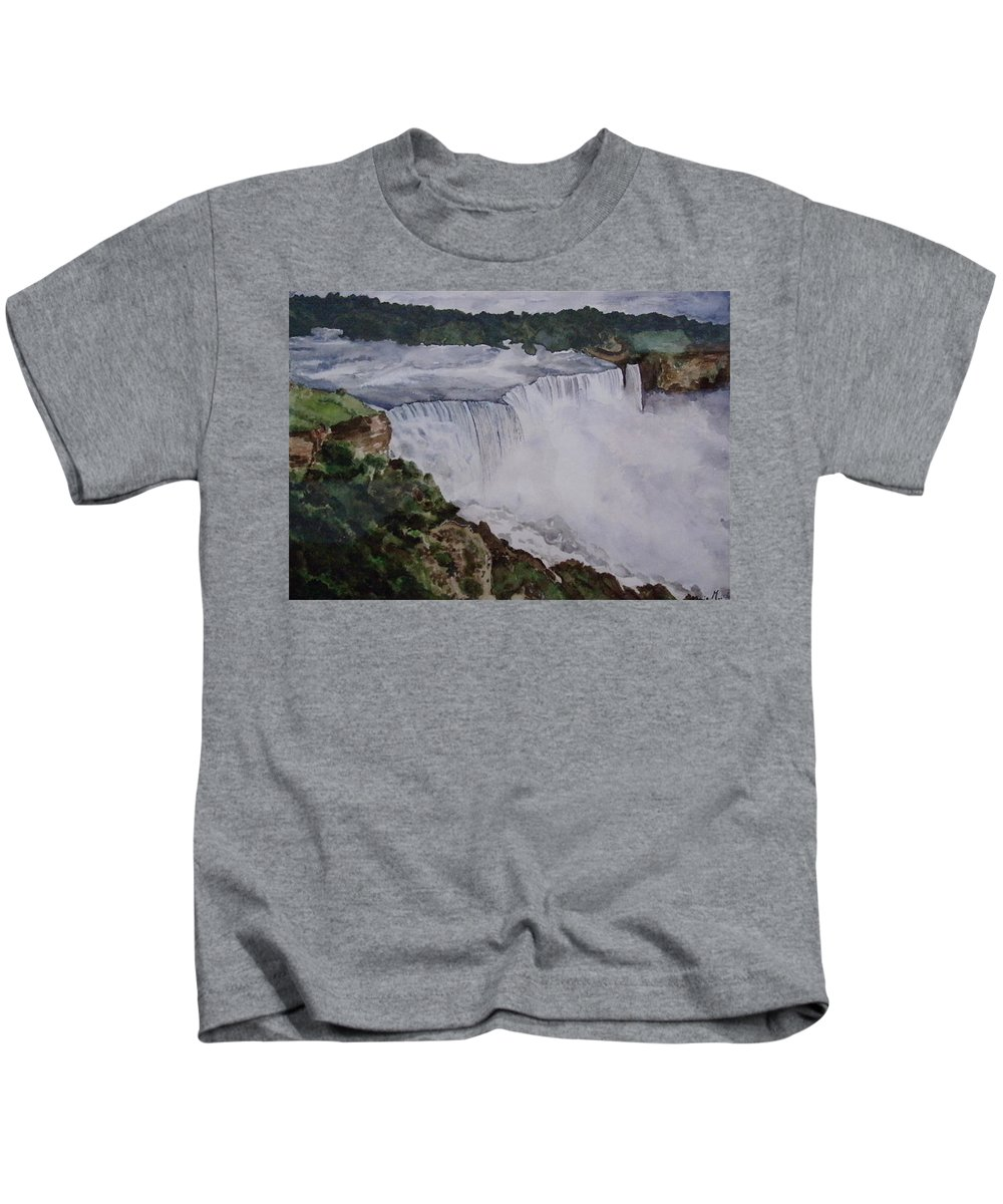 Water Falls Kids T-Shirt featuring the painting Falls by Tanuja Munakala