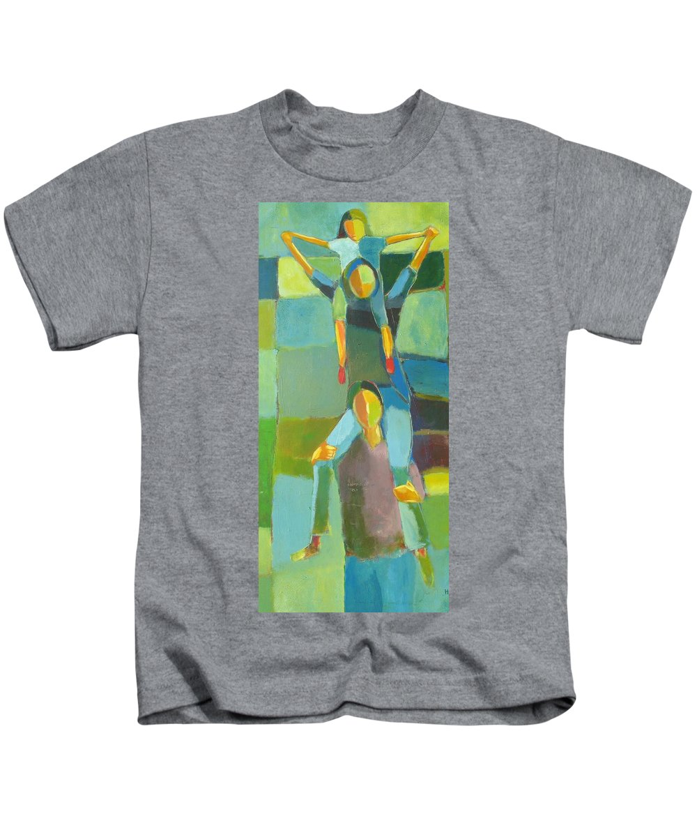 Abstract Kids T-Shirt featuring the painting Family Joy by Habib Ayat