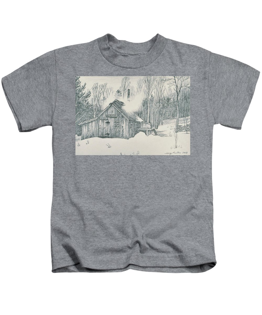 Maple Kids T-Shirt featuring the drawing Family Sap House by Harry Moulton