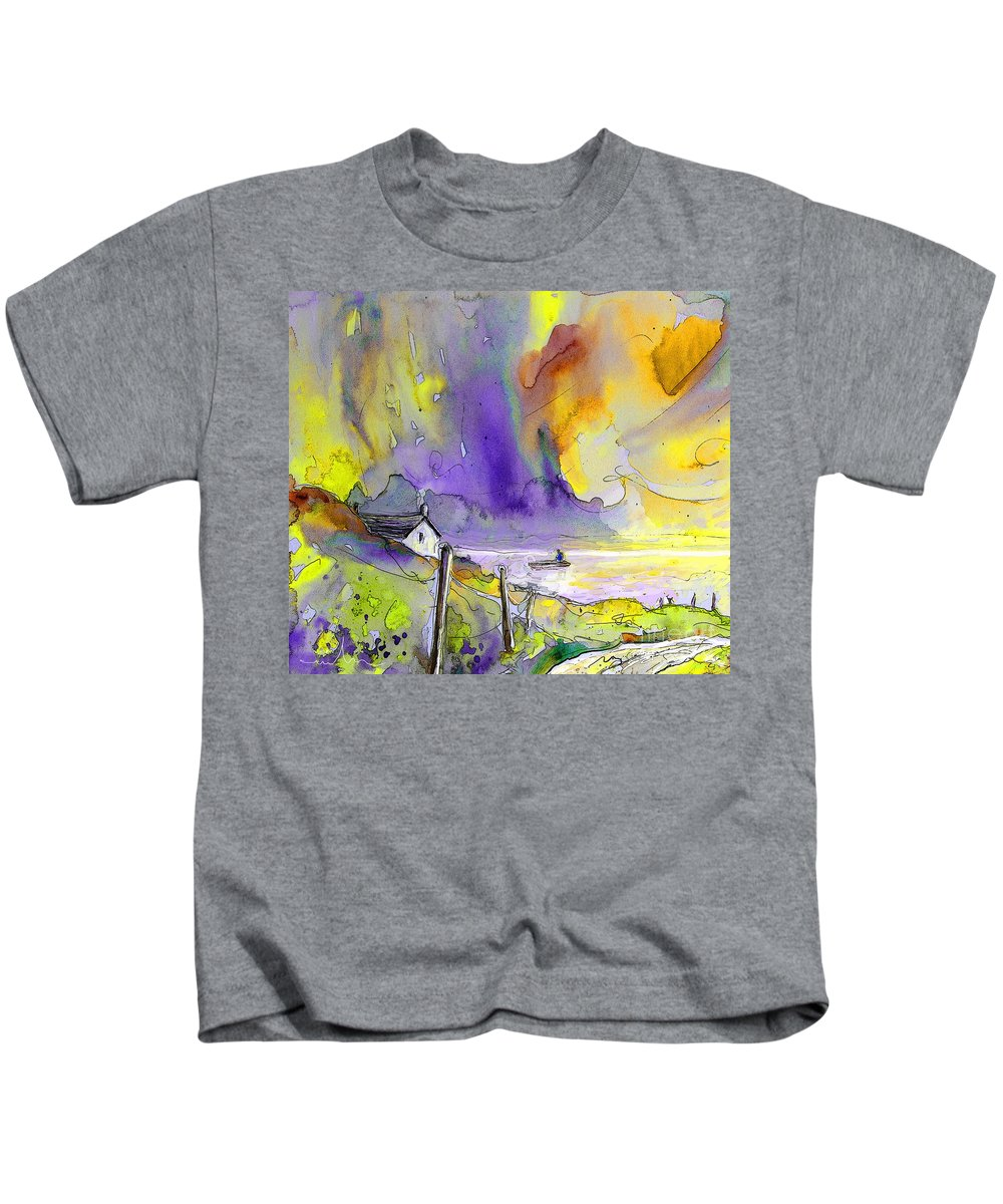 Fantasy Seascape Kids T-Shirt featuring the painting Fantaquarelle 03 by Miki De Goodaboom