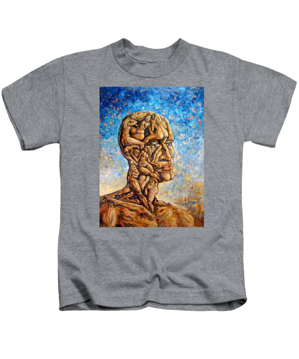 Surrealism Kids T-Shirt featuring the painting Fantasies Of A 120 Years Old Man Struggling To Survive by Darwin Leon