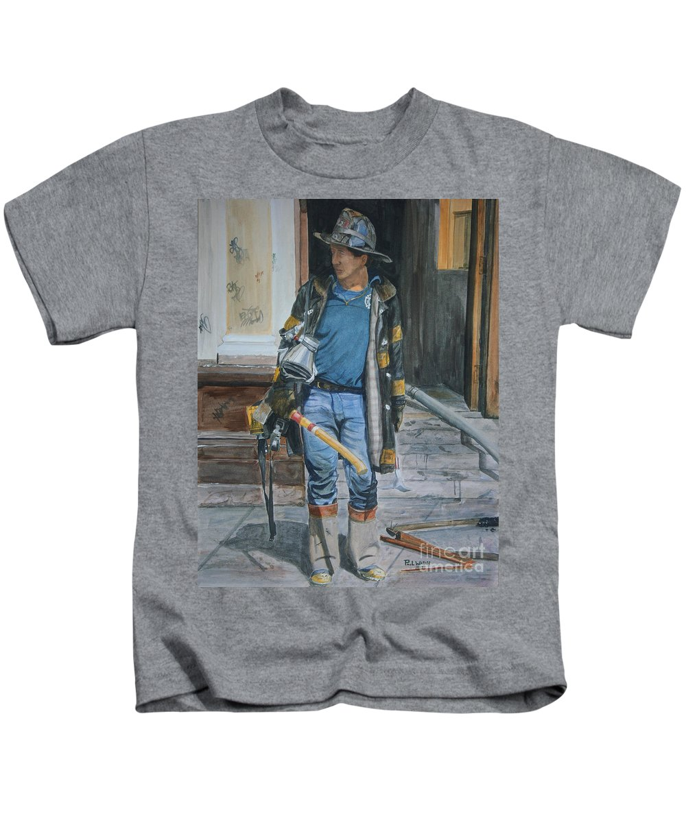 Fdny Kids T-Shirt featuring the painting Fdny Harlem Truckie- Ladder 28 by Paul Walsh