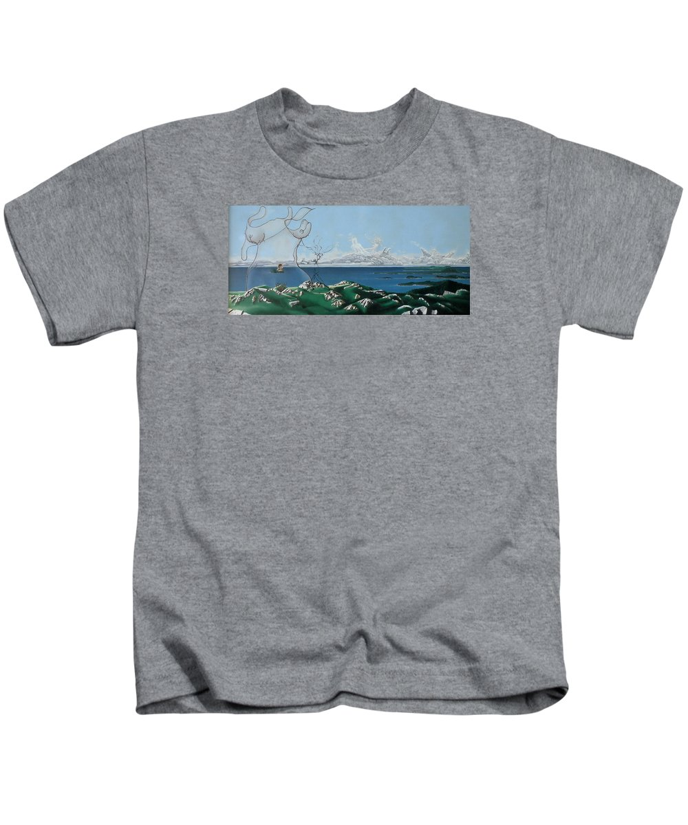 Landscape Kids T-Shirt featuring the painting Feminine Landscape by Dave Martsolf