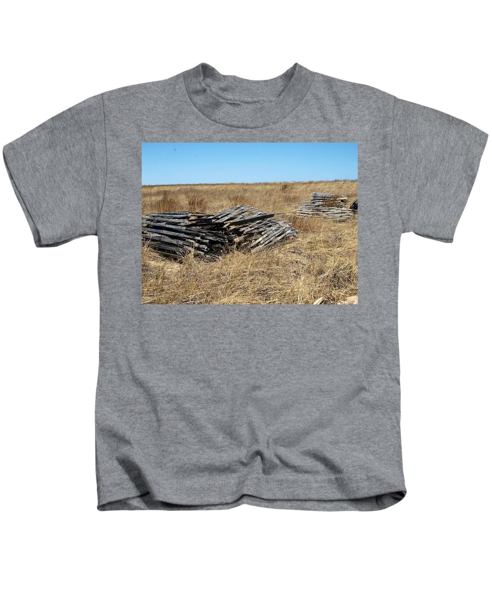 Kids T-Shirt featuring the photograph Fence Bails by Bruce Gannon