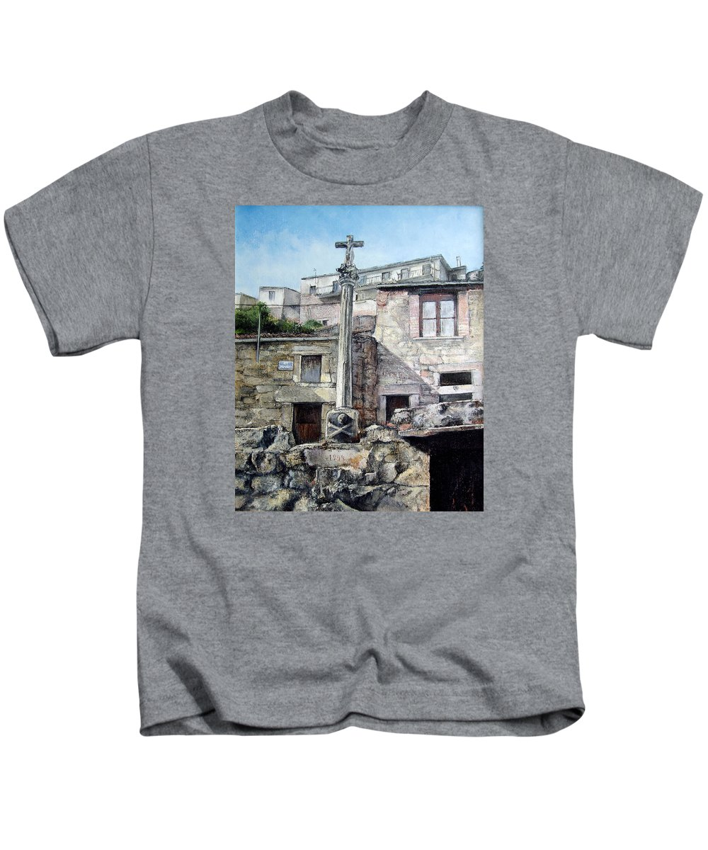 Fermoselle Kids T-Shirt featuring the painting Fermoselle.-crucero by Tomas Castano