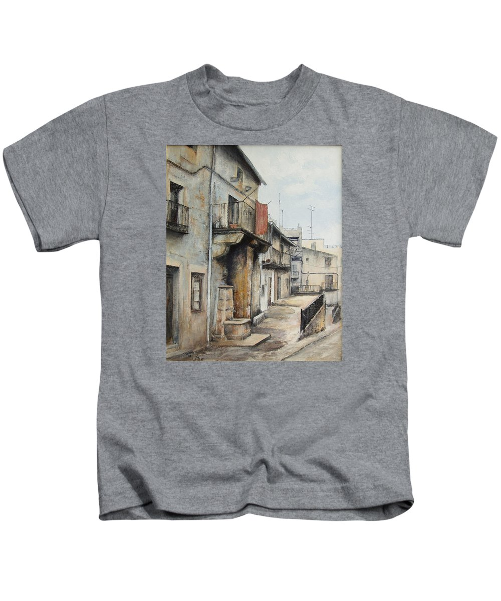 Fermoselle Zamora Spain Oil Painting City Scapes Urban Art Kids T-Shirt featuring the painting Fermoselle by Tomas Castano