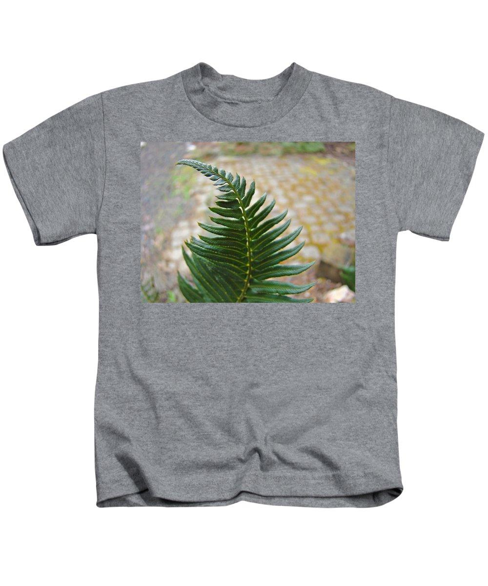 Fern Kids T-Shirt featuring the photograph Fern Art Prints Green Garden Fern Branch Botanical Baslee Troutman by Baslee Troutman