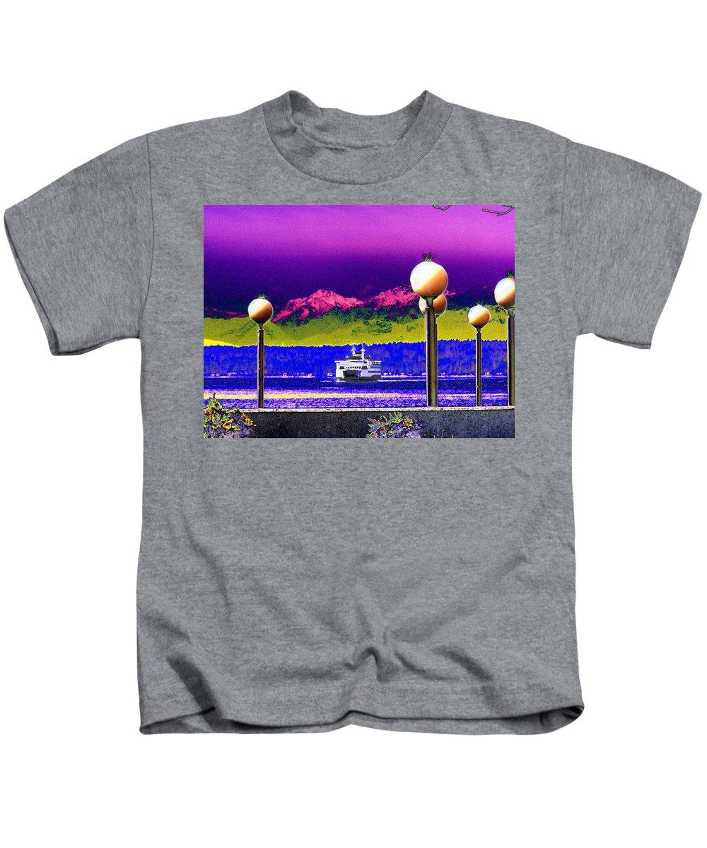 Seattle Kids T-Shirt featuring the digital art Ferry On Elliott Bay by Tim Allen