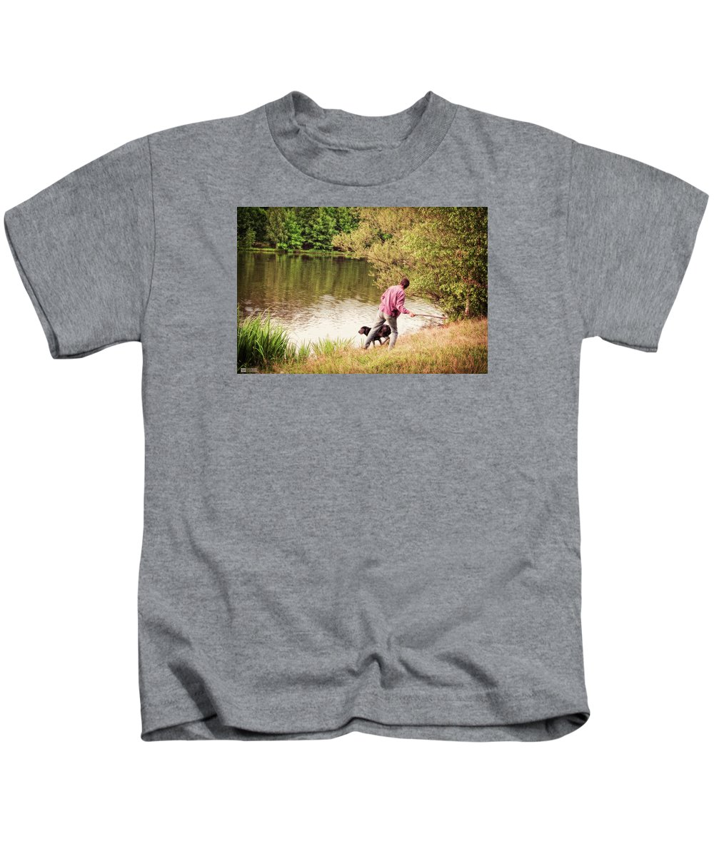 Dog Kids T-Shirt featuring the photograph Fetch by Earl Ricks