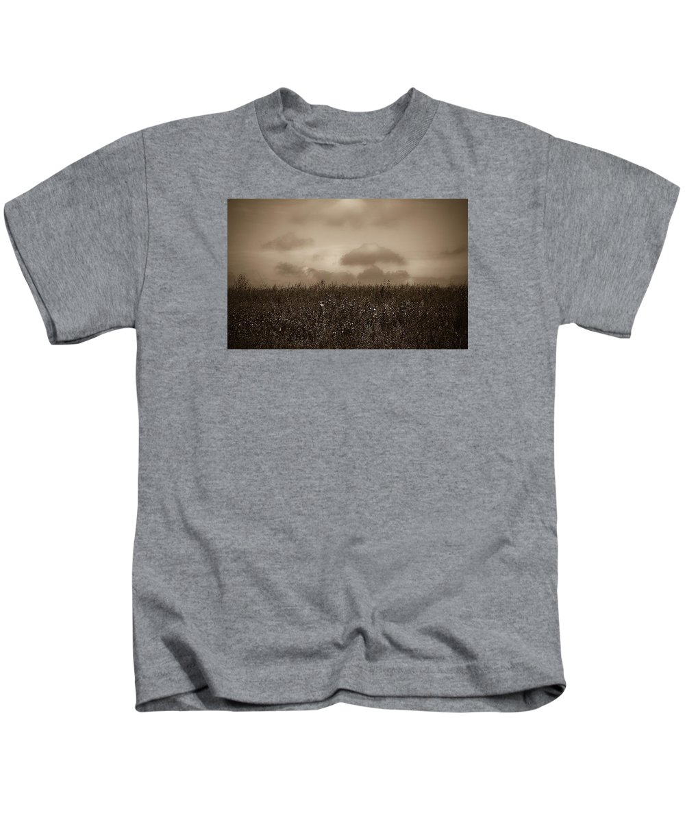 Poland Kids T-Shirt featuring the photograph Field In Sepia Northern Poland by Michael Ziegler