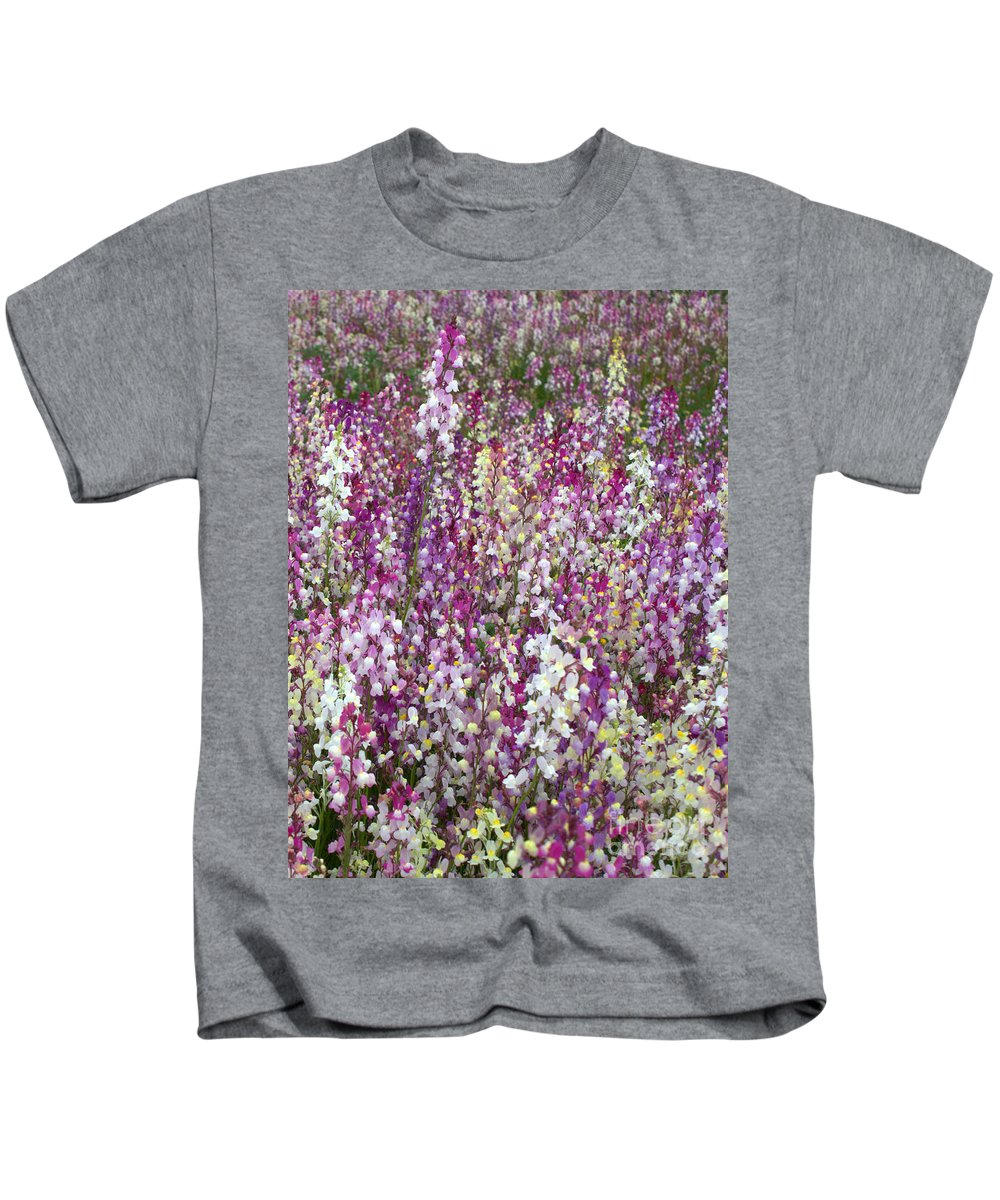 Flowers Kids T-Shirt featuring the photograph Field Of Multi-colored Flowers by Carol Groenen