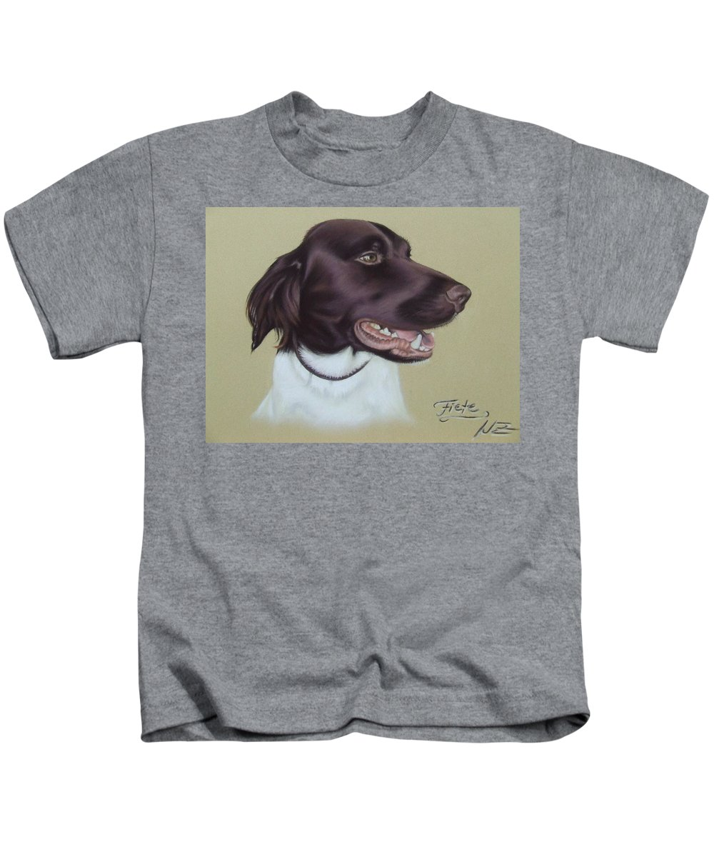 Dog Kids T-Shirt featuring the pastel Fiete by Nicole Zeug