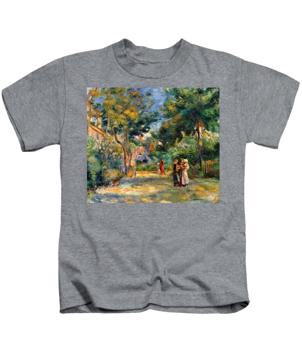Figures Kids T-Shirt featuring the painting Figures In A Garden by Renoir PierreAuguste