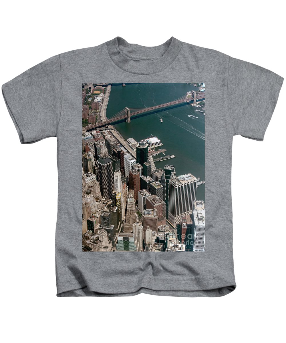 Skyscrapers Kids T-Shirt featuring the photograph Financial District Nyc Aerial Photo by David Oppenheimer