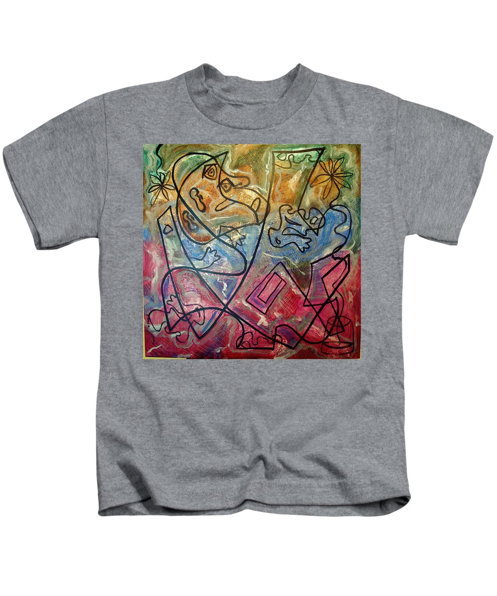 Modern Abstract Kids T-Shirt featuring the painting Finding Sun by W Todd Durrance