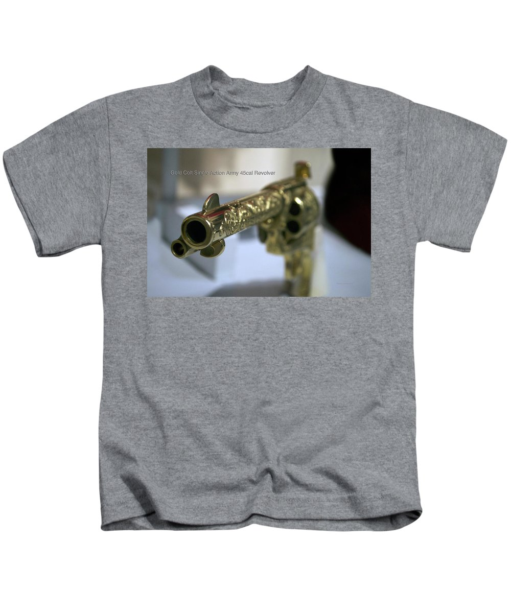 Gold Kids T-Shirt featuring the photograph Firearms Gold Colt Single Action Army 45cal Revolver by Thomas Woolworth