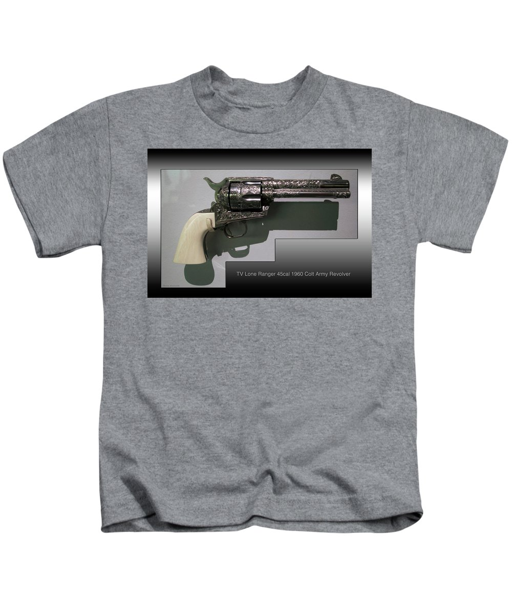 Revolver Kids T-Shirt featuring the photograph Firearms Tv Lone Ranger 45cal 1960 Colt Army Revolver by Thomas Woolworth