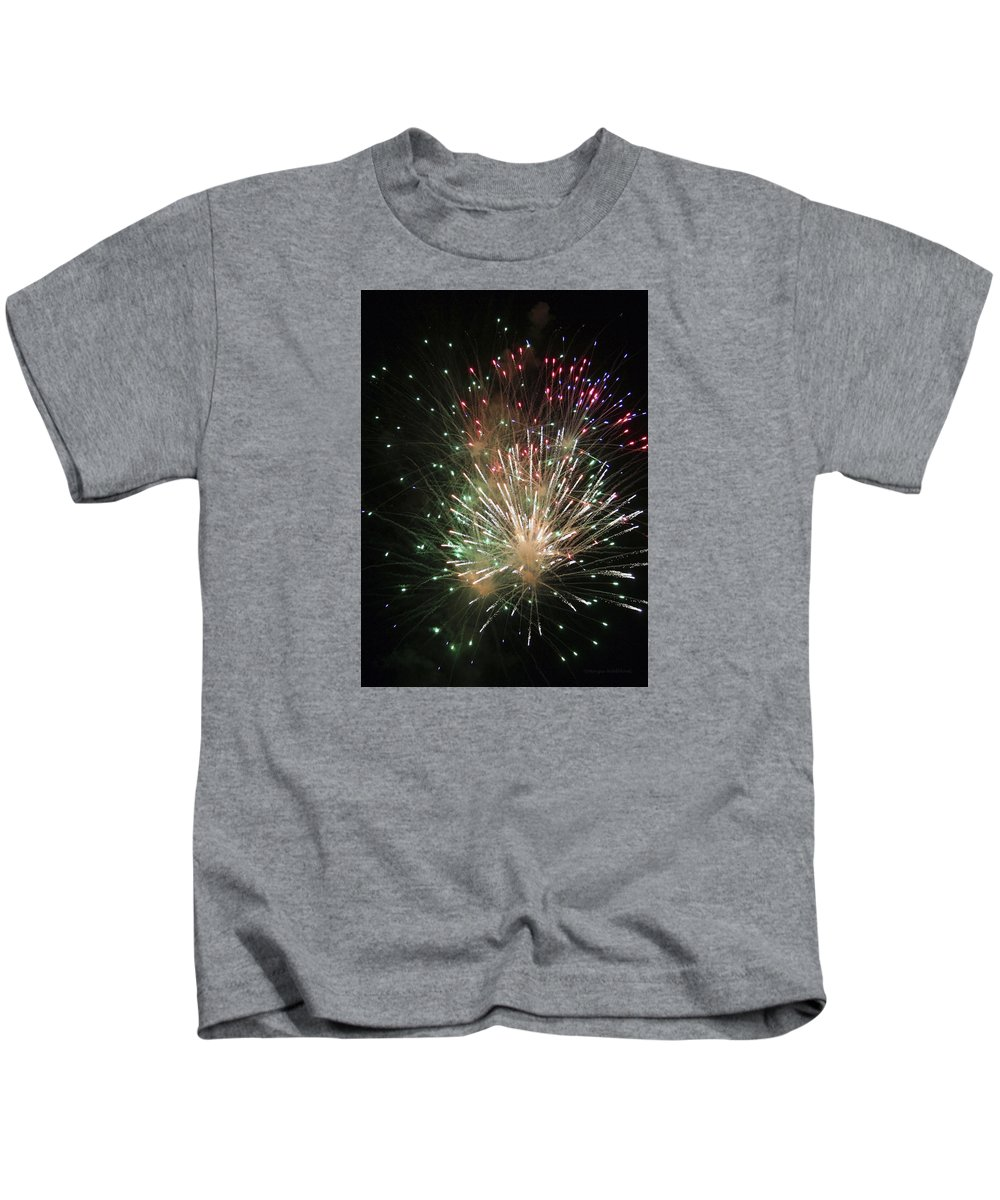 Fireworks Kids T-Shirt featuring the photograph Fireworks by Margie Wildblood