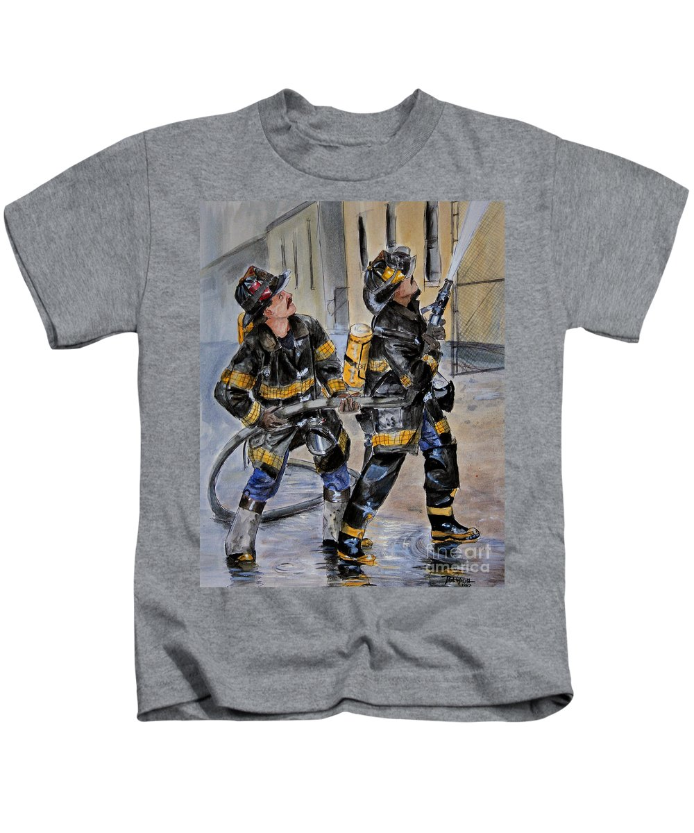 Fire House Kids T-Shirt featuring the painting First Due-engine 73 by Paul Walsh
