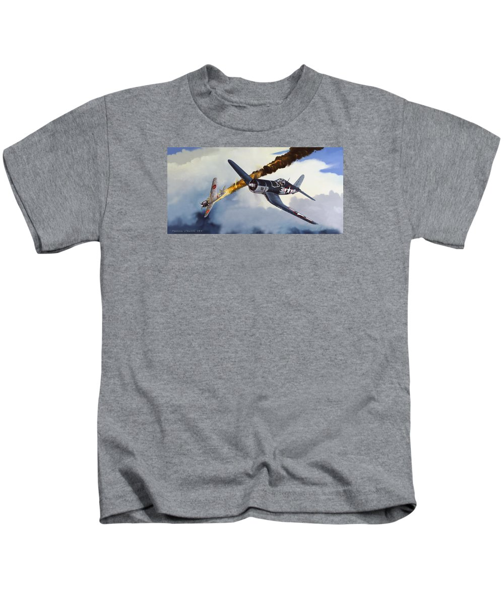 Military Kids T-Shirt featuring the painting First Kill For The Jolly Rogers by Marc Stewart