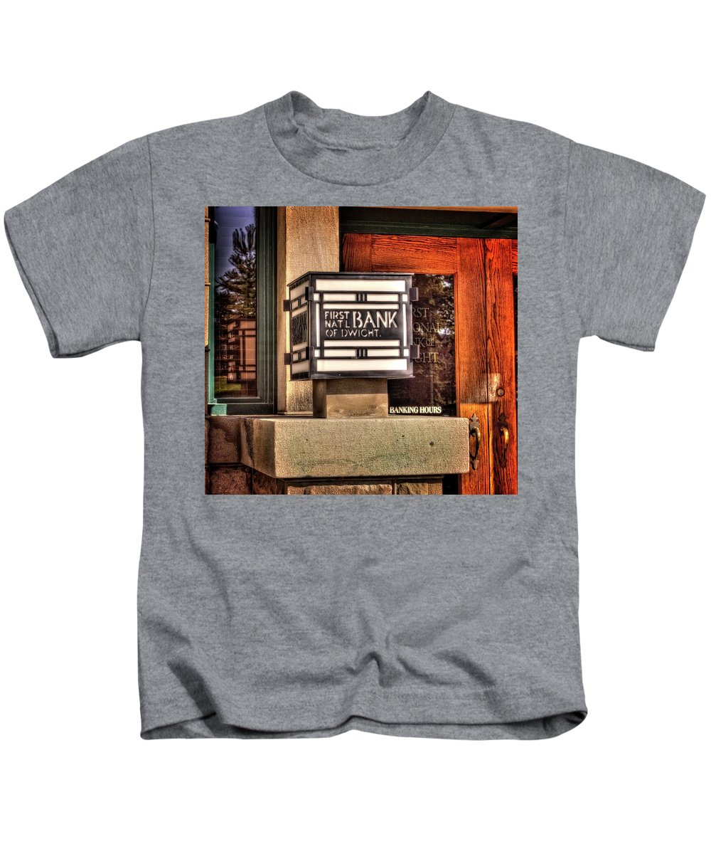 Dwight Kids T-Shirt featuring the photograph First National Bank Of Dwight by Fred Hahn