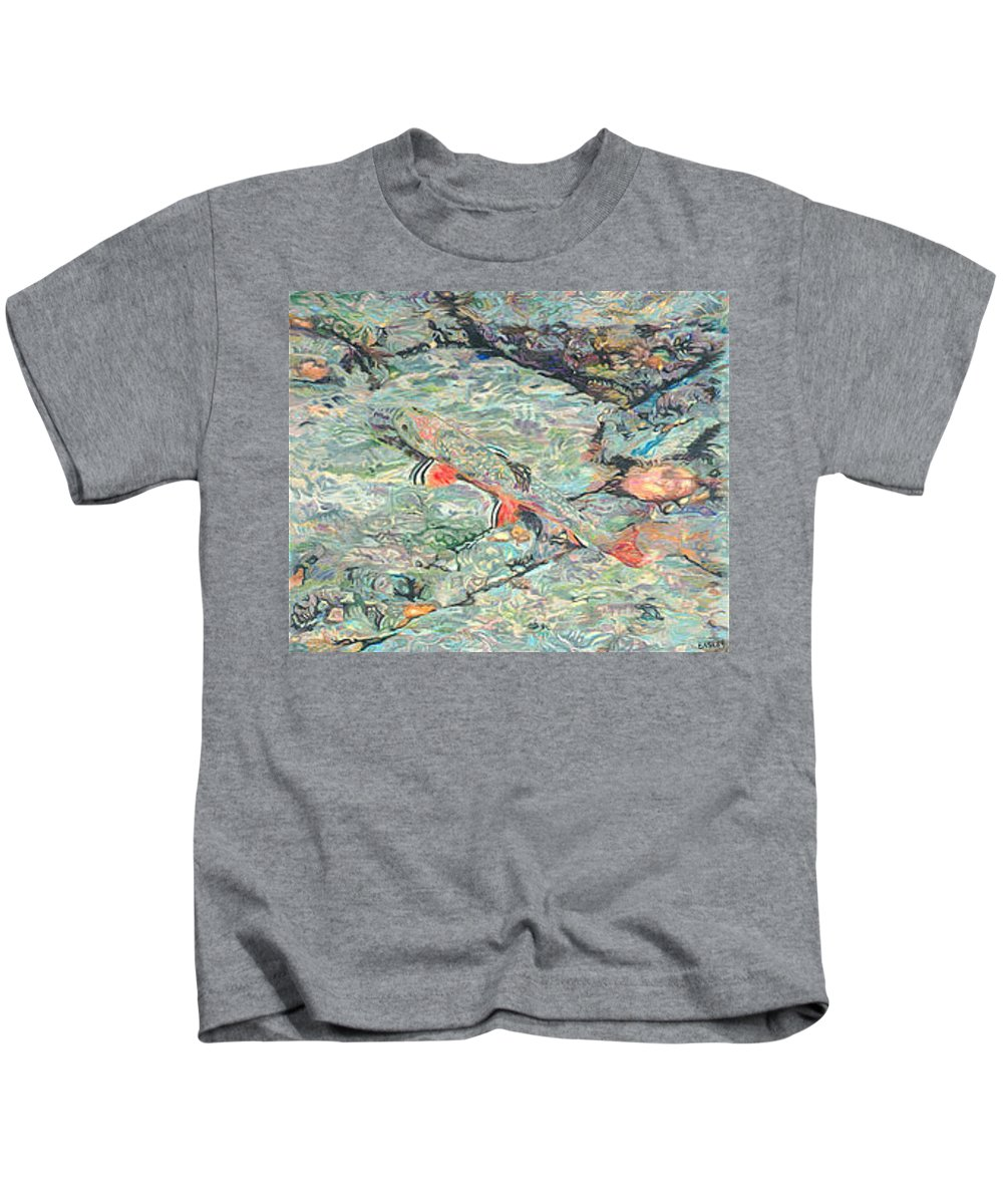 Art Kids T-Shirt featuring the drawing Fish Art Trout Art Brook Trout Brookie Artwork Nature Underwater Wildlife Creek Art River Art Lake by Baslee Troutman