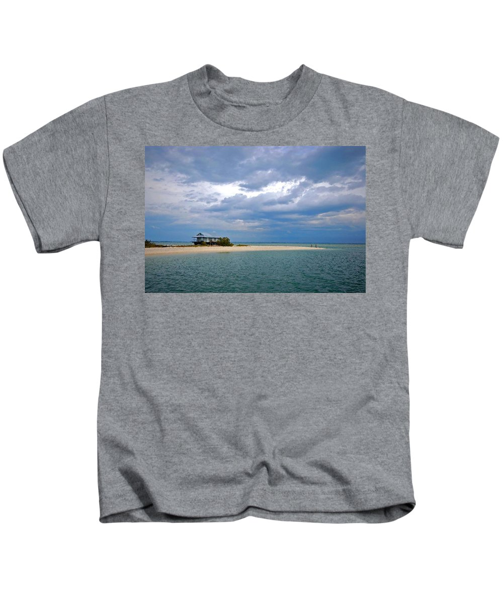 Beach Kids T-Shirt featuring the painting Fish Hut by Michael Thomas