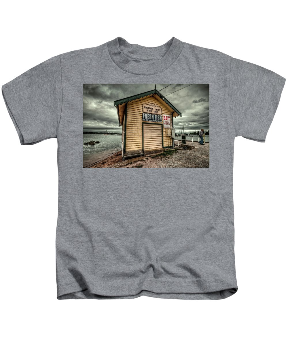Hastings Kids T-Shirt featuring the photograph Fish Shed by Wayne Sherriff