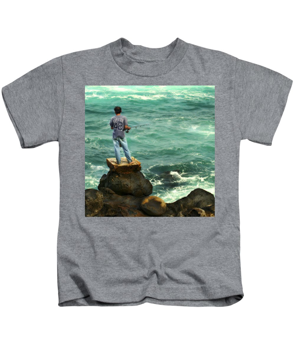 Americana Kids T-Shirt featuring the photograph Fisherman by Marilyn Hunt