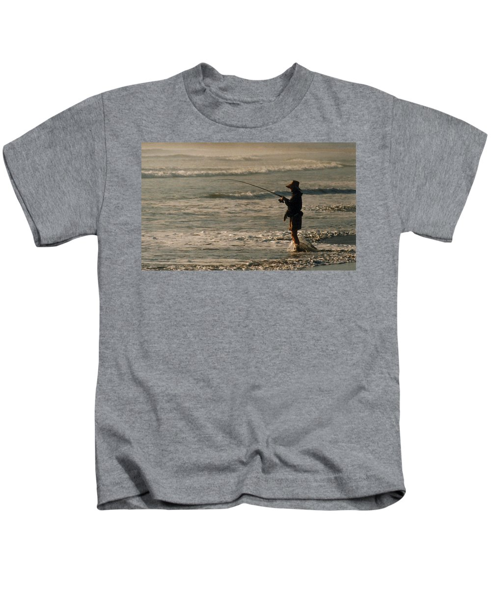 Fisherman Kids T-Shirt featuring the photograph Fisherman by Steve Karol