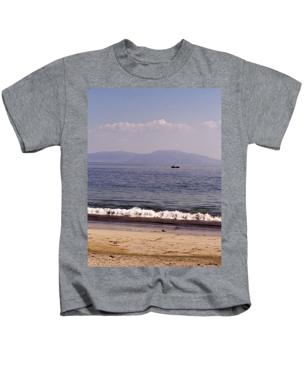 Irish Kids T-Shirt featuring the photograph Fishing Boat On Ventry Harbor Ireland by Teresa Mucha