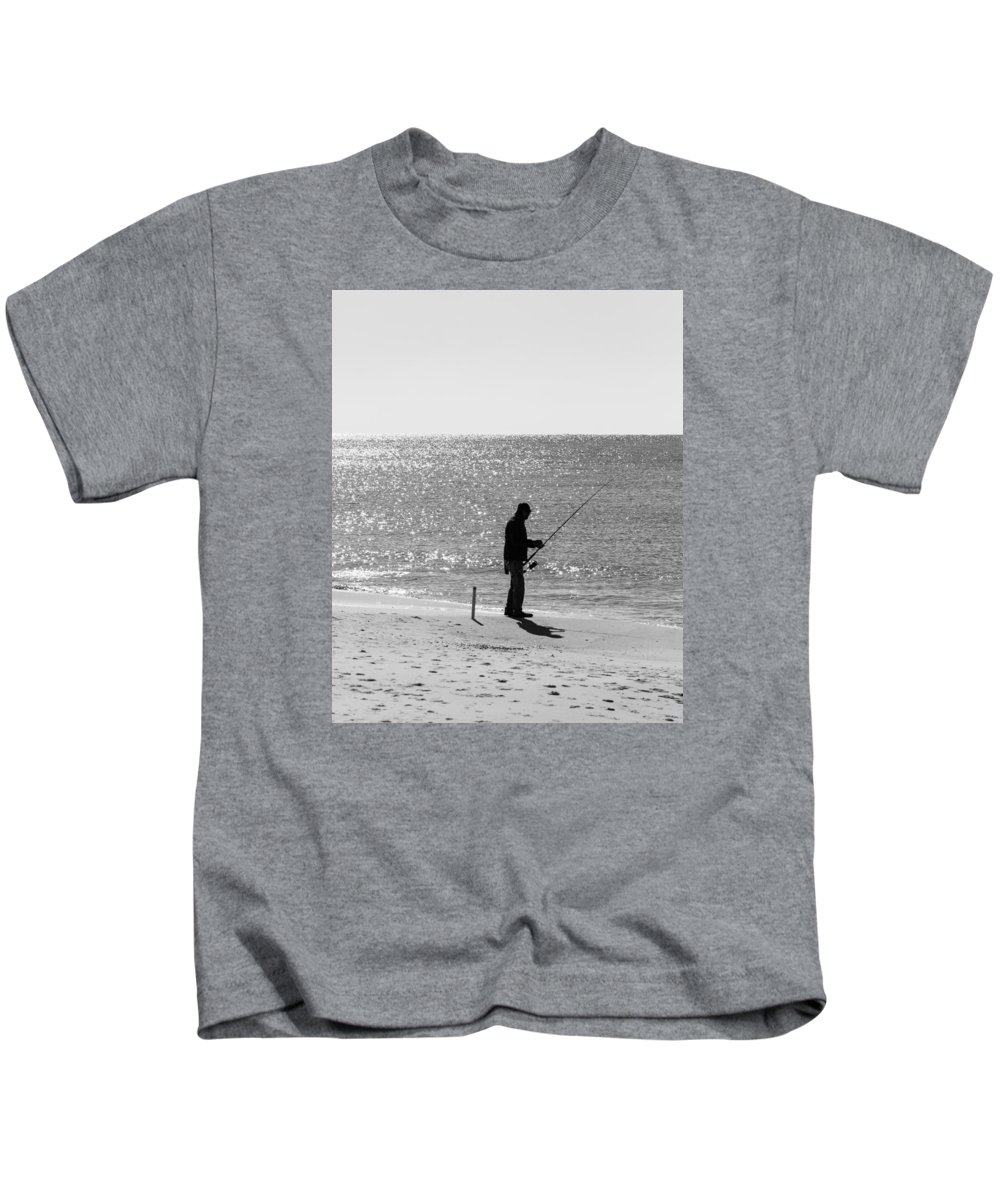 Best Price Kids T-Shirt featuring the photograph Fishing In Black And White by Gary Oliver