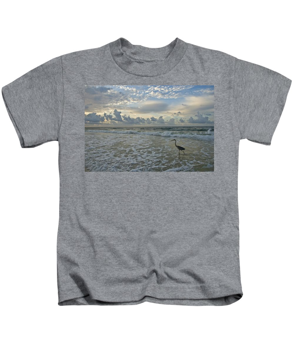 Blue Heron Kids T-Shirt featuring the photograph Fishing In The Morning by Jennifer Kelly