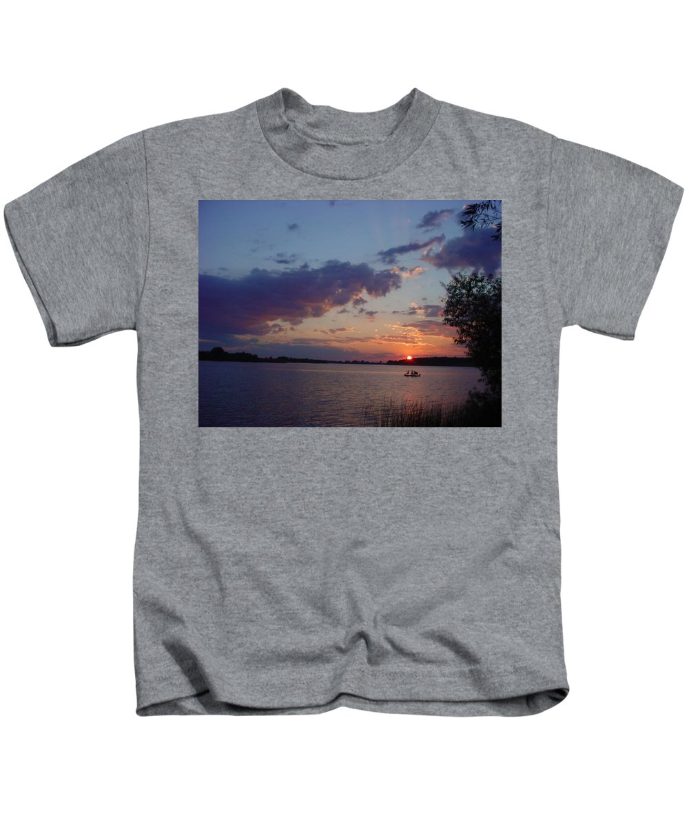 St.lawrence River Kids T-Shirt featuring the photograph Fishing On The St.lawrence River. by Jerrold Carton