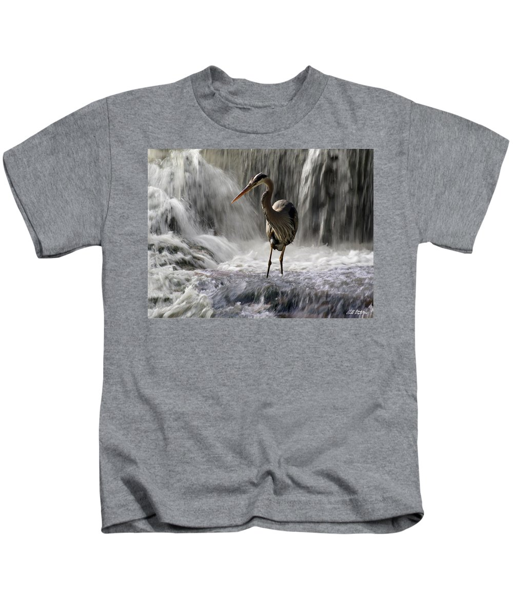 Waterfalls Kids T-Shirt featuring the photograph Fishing Time by Bill Stephens