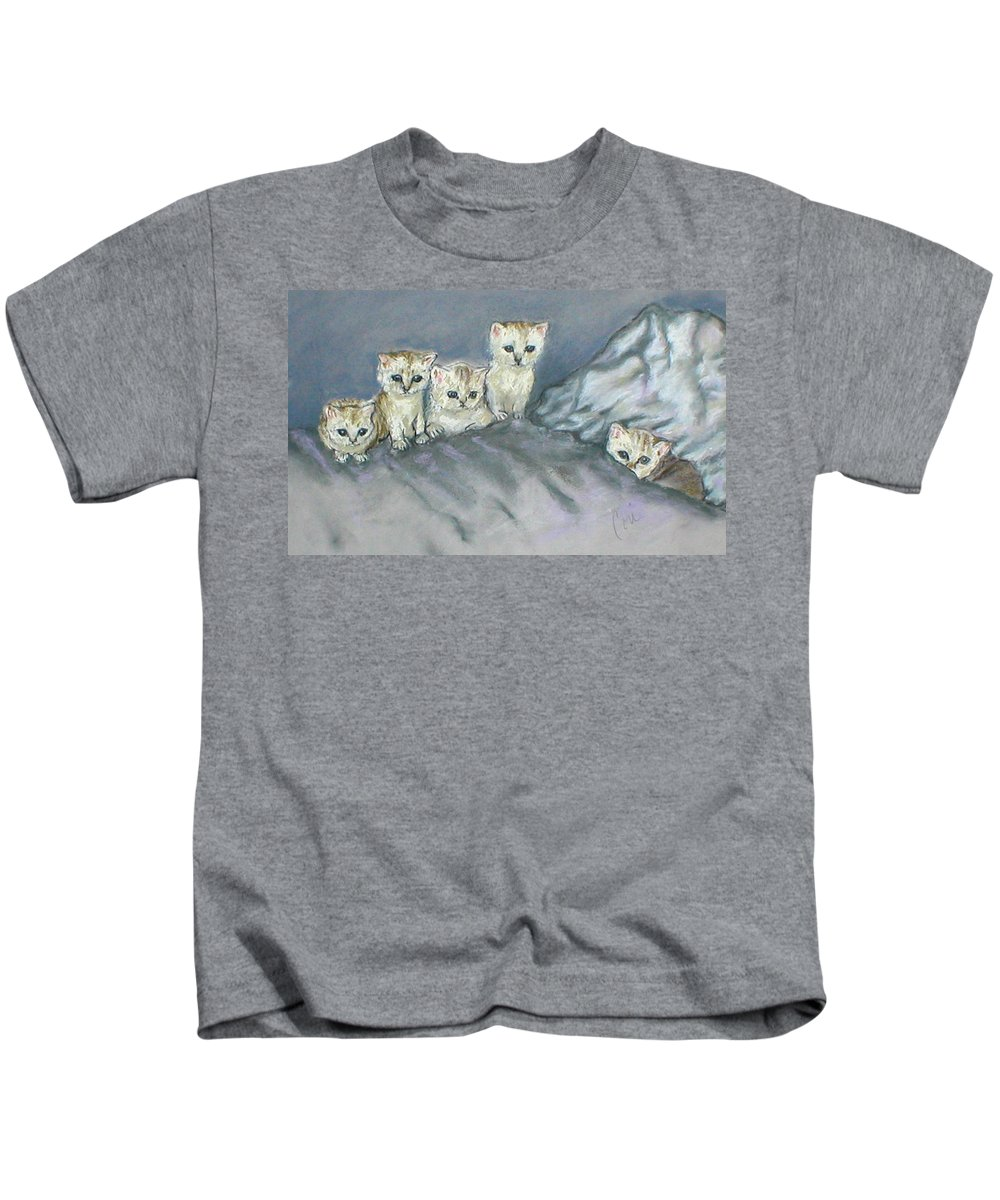Cats Kids T-Shirt featuring the drawing Five Kitties by Cori Solomon