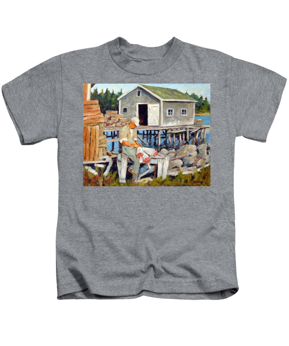 Fishing Boats Kids T-Shirt featuring the painting Fixing Floats by Richard T Pranke