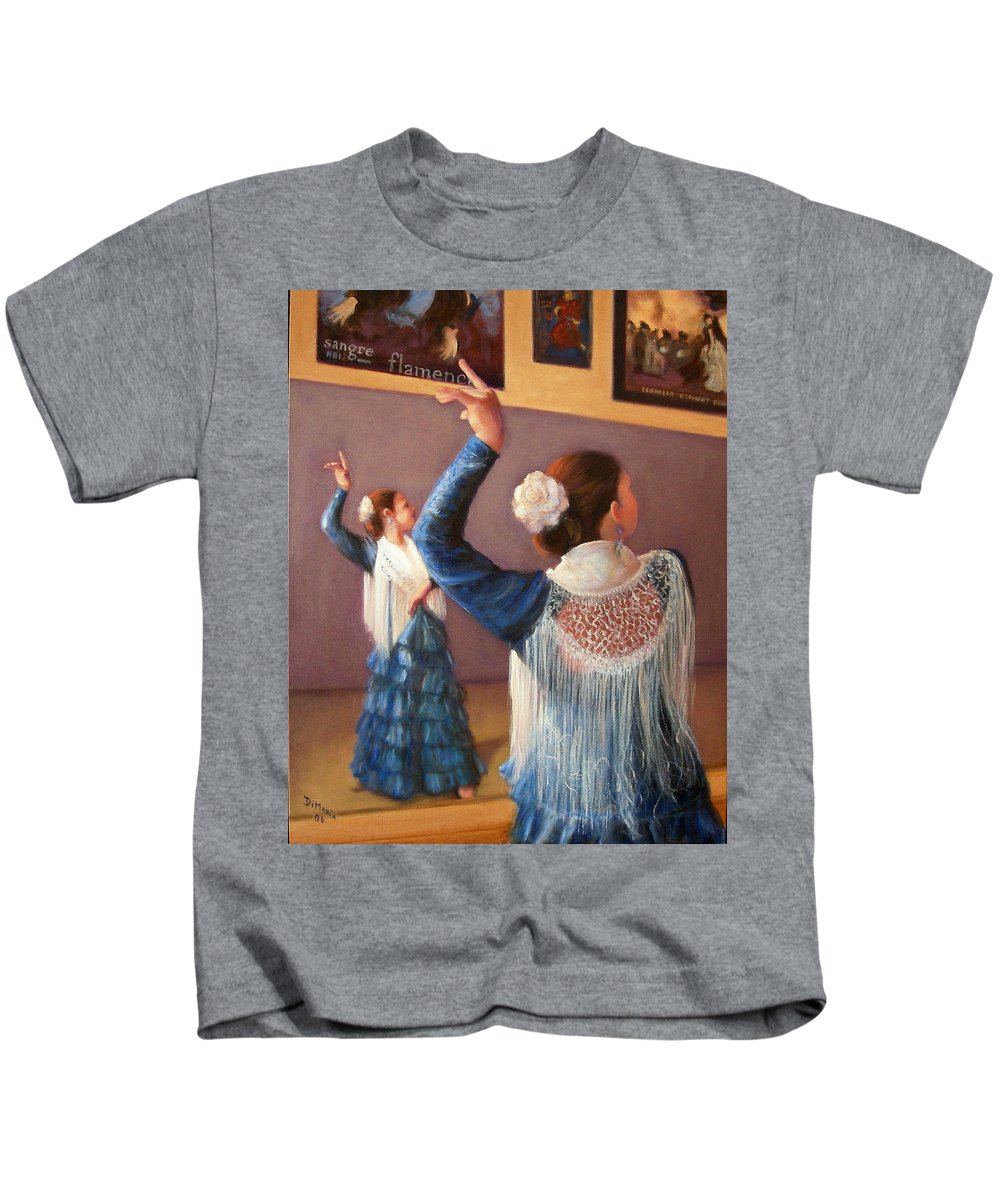 Realism Kids T-Shirt featuring the painting Flamenco 7 by Donelli DiMaria