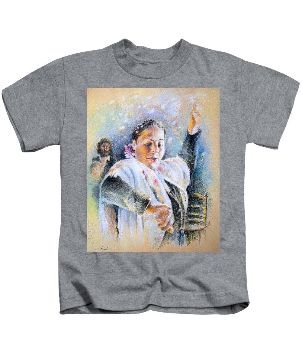 Music Kids T-Shirt featuring the painting Flamenco Dancer by Miki De Goodaboom