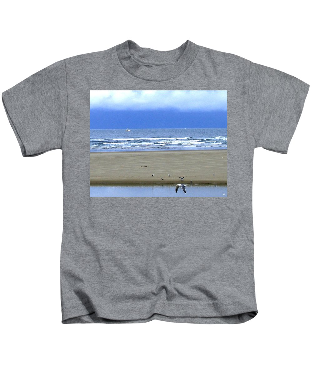 Seagull Kids T-Shirt featuring the photograph Flaps Down by Will Borden