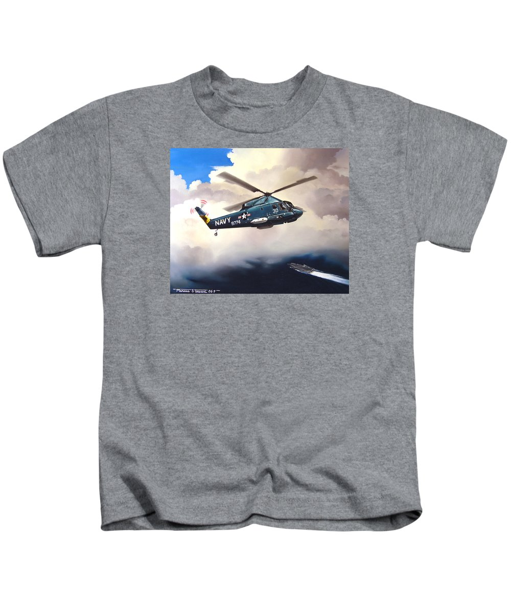 Military Kids T-Shirt featuring the painting Flight Of The Seasprite by Marc Stewart