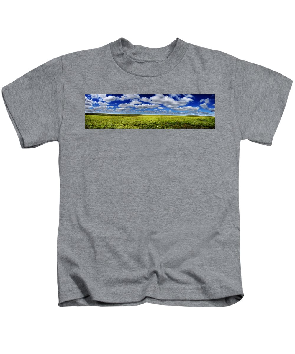 Flint Hills Kids T-Shirt featuring the photograph Flint Hills Panorama 1 by Eric Benjamin