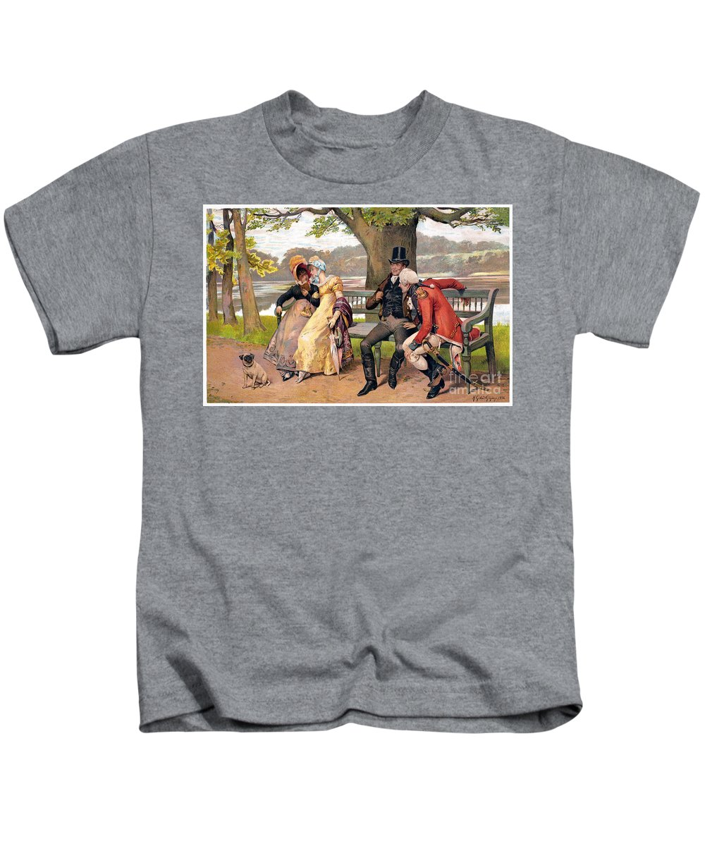 19th Century Kids T-Shirt featuring the photograph Flirtation, C1810 by Granger