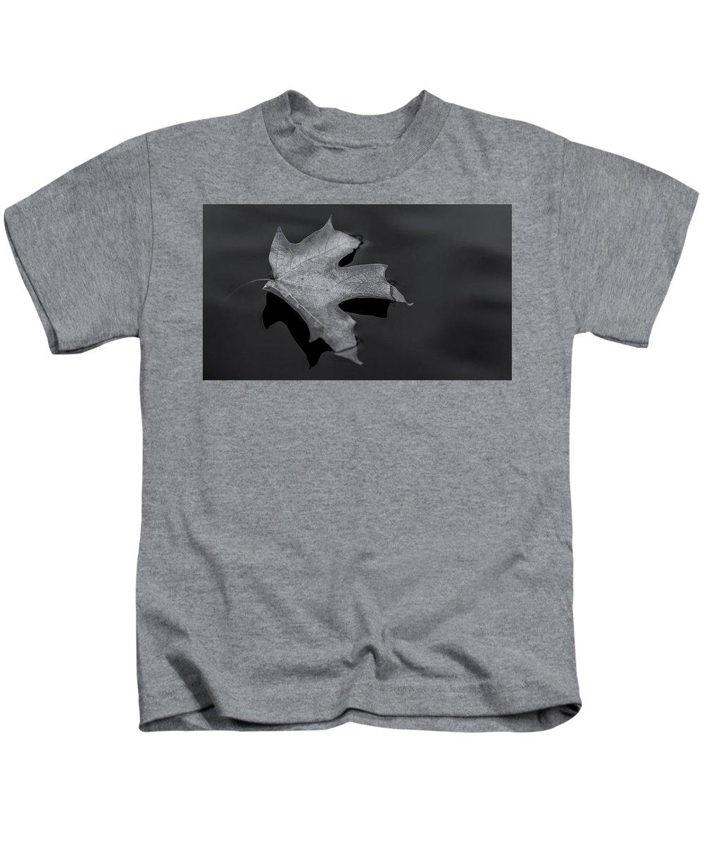 Leaf Kids T-Shirt featuring the photograph Float - B W - H D R by Greg Thiemeyer