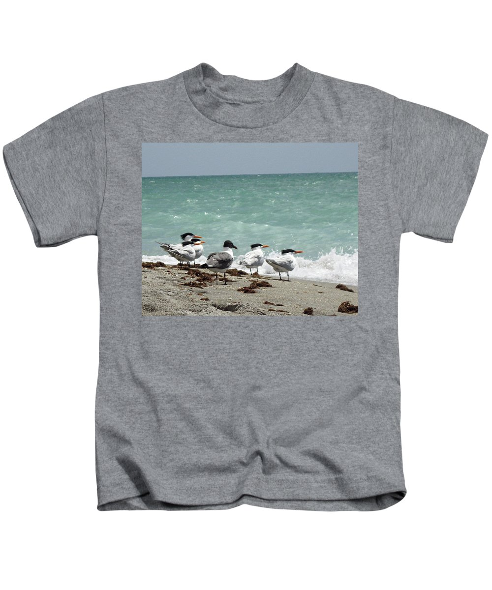 Florida Kids T-Shirt featuring the photograph Flock Of Terns Gp by Chris Andruskiewicz