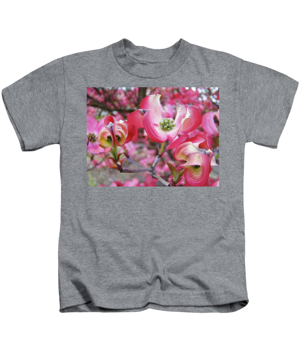 Dogwood Kids T-Shirt featuring the photograph Floral Dogwood Tree Flowers Baslee Troutman by Baslee Troutman